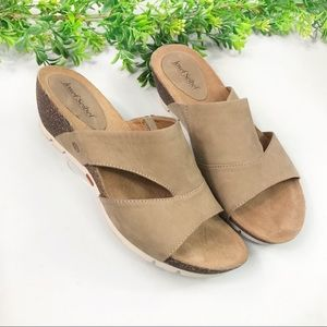 Josef Seibel Tan Suede Slip-on Wedge Sandals Sz 7